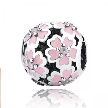 Charm argint 925 cu floricele roz si zirconii albe - Be Nature PST0023