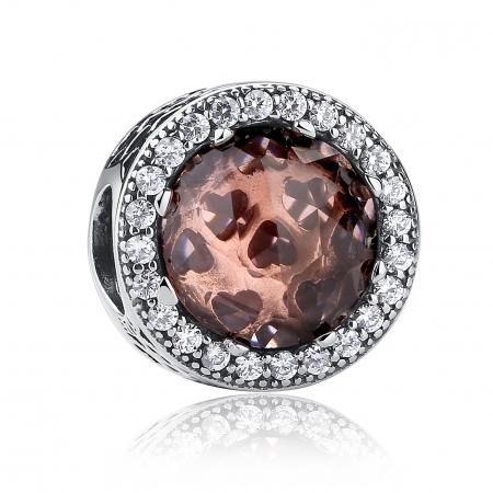 Charm argint 925 cristal maro cu inimioare si zirconii albe - Be in Love PST0025