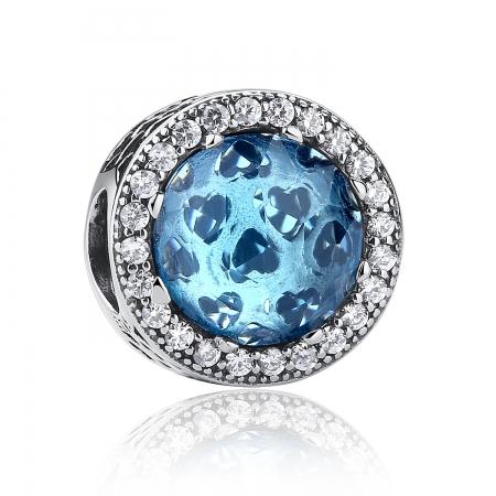 Charm argint 925 cristal bleu cu inimioare si zirconii albe - Be in Love PST0033
