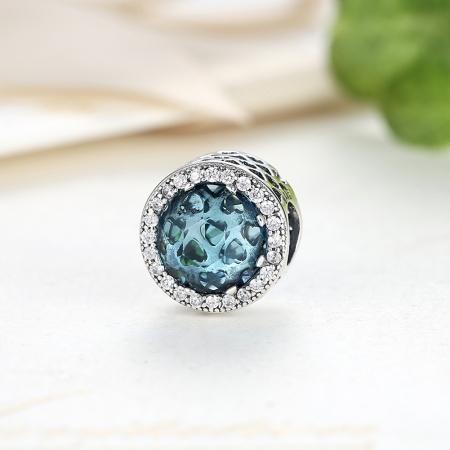 Charm argint 925 cristal bleu cu inimioare si zirconii albe - Be in Love PST00333