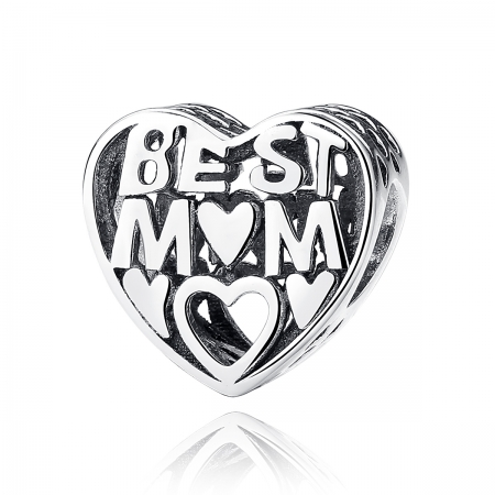 Charm argint 925 cu inimioara Best Mom - Be in Love PST0034