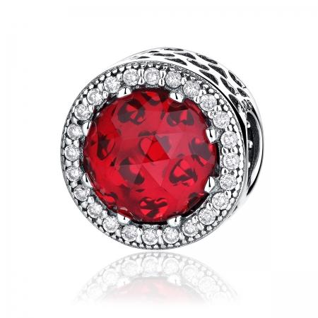Charm argint 925 cristal rosu cu zirconii albe - Be Elegant PST0039