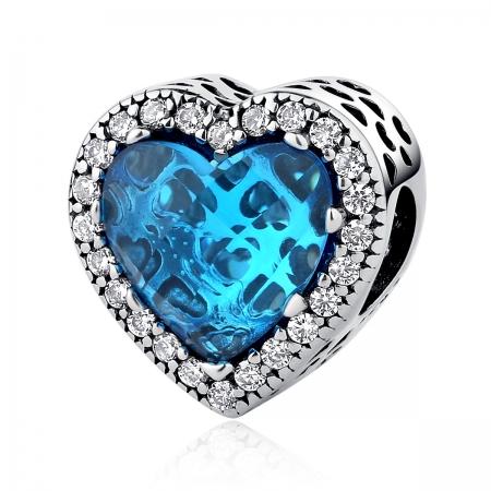 Charm argint 925 inimioara albastra - Be in Love PST0043