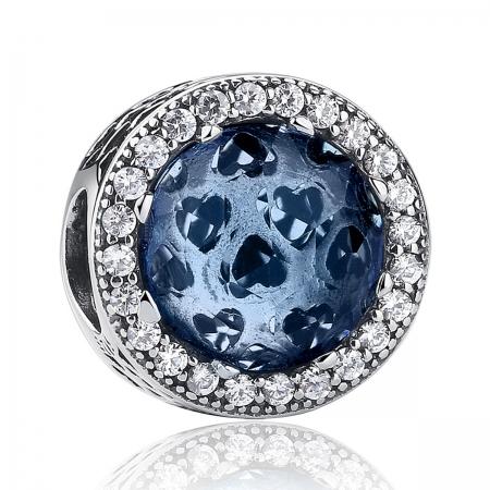 Charm argint 925 cu cristal albastru cu inimioare si zirconii albe - Be in Love PST0047
