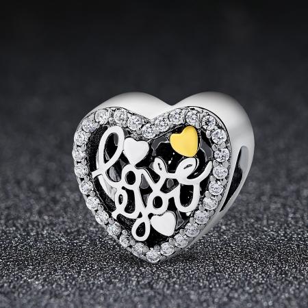 Charm argint 925 inimioara I LOVE YOU - Be in Love PST00481