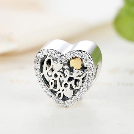 Charm argint 925 inimioara I LOVE YOU - Be in Love PST00482