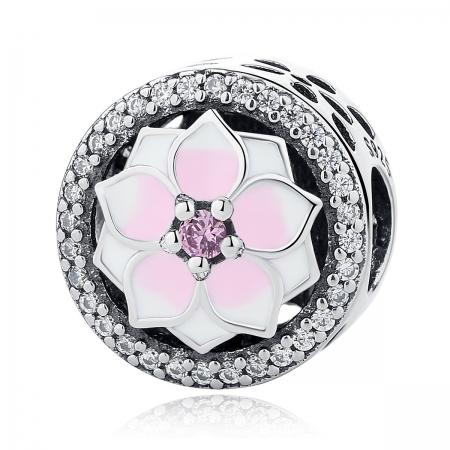 Charm argint 925 cu floare roz si zirconii albe - Be Nature PST00490