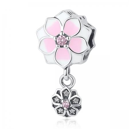 Charm argint 925 cu floricele roz si zirconii albe si roz - Be Nature PST0050