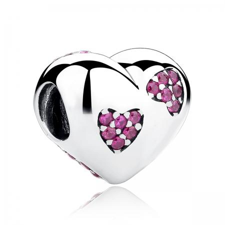 Charm argint 925 inimioara cu zirconii roz - Be in Love PST0054