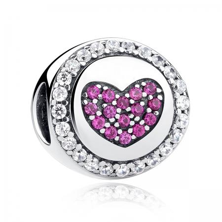 Charm argint 925 inimioara cu zirconii albe si roz - Be in Love PST00550