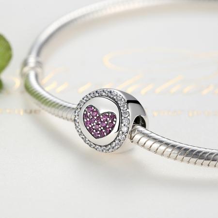 Charm argint 925 inimioara cu zirconii albe si roz - Be in Love PST00551