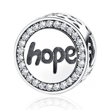Charm argint 925 Hope-Speranta cu zirconii albe - Be Elegant PST0057