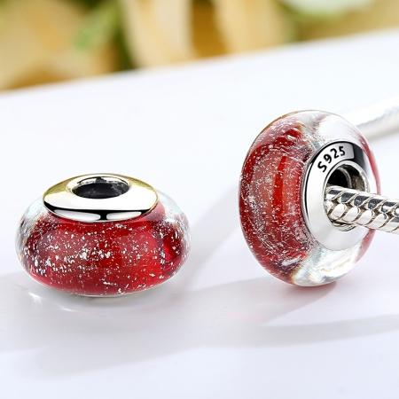 Charm argint 925 cu sticla rosie - Be Elegant PST00661