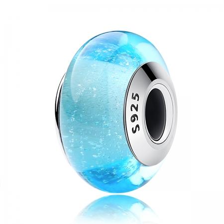 Charm argint 925 cu sticla bleu - Be Elegant PST0067