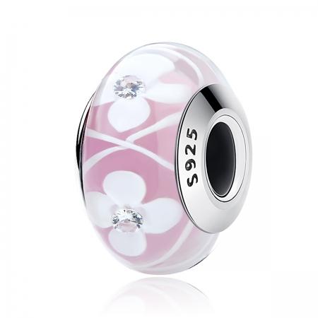 Charm argint 925 roz cu floricele albe - Be Nature PST0075