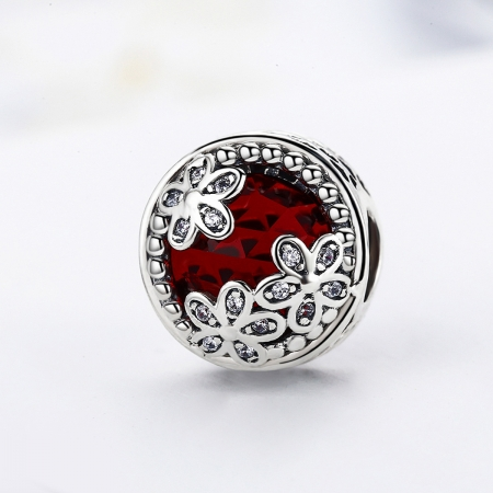 Charm argint 925 cu cristal rosu, floricele si zirconii albe - Be Nature PST00763