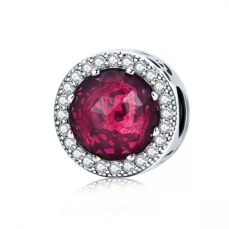 Charm argint 925 cu cristal rosu si zirconii albe - Be Elegant PST0078