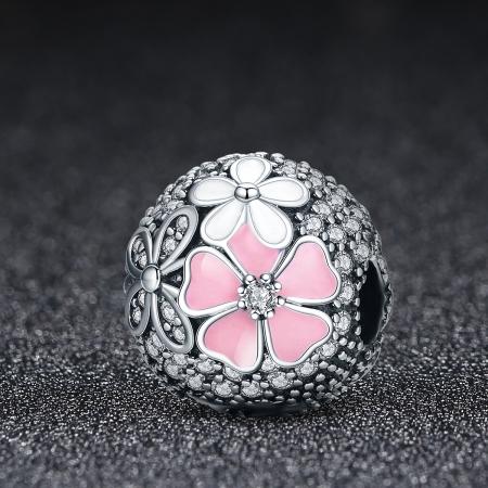 Charm argint 925 cu floricele si zirconii albe (se deschide) - Be Nature PST00791