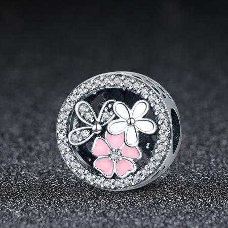 Charm argint 925 cu floricele si zirconii albe - Be Nature PST00801