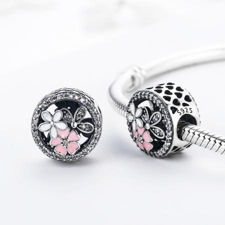 Charm argint 925 cu floricele si zirconii albe - Be Nature PST00802
