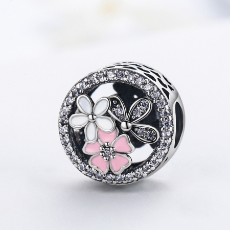 Charm argint 925 cu floricele si zirconii albe - Be Nature PST00803