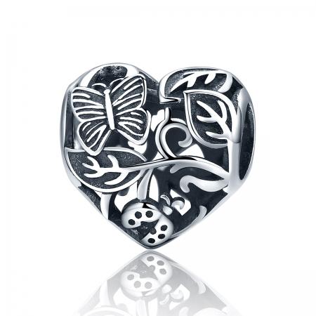 Charm argint 925 cu inimioara cu fluturas si floricele - Be in Love PST0082