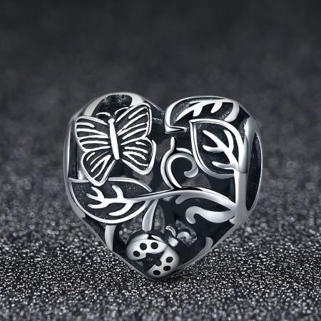 Charm argint 925 cu inimioara cu fluturas si floricele - Be in Love PST00822