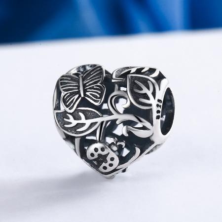 Charm argint 925 cu inimioara cu fluturas si floricele - Be in Love PST00823