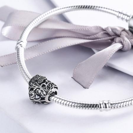 Charm argint 925 cu inimioara cu fluturas si floricele - Be in Love PST00824