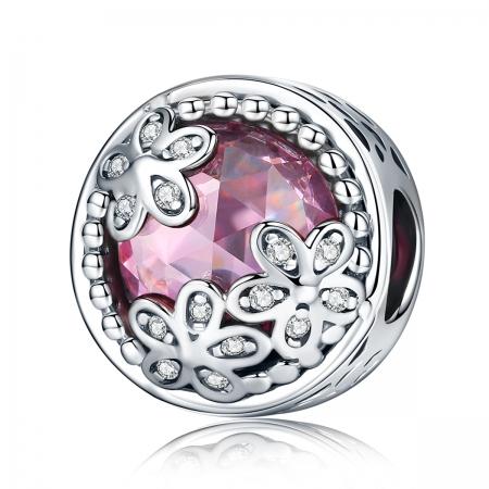 Charm argint 925 roz cu floricele si zirconii albe - Be Nature PST0085