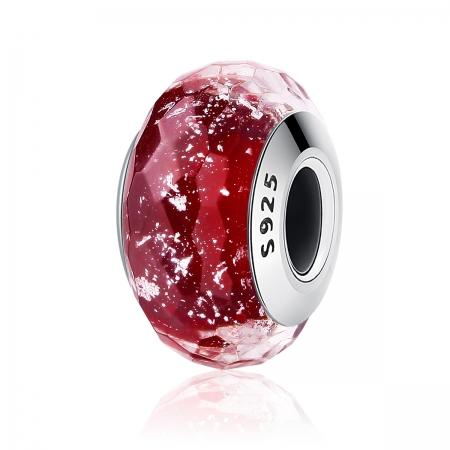 Charm argint 925 cu sticla rosie multifatetata - Be Elegant PST0092