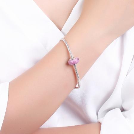 Charm argint 925 cu sticla roz multifatetata - Be Elegant PST00934