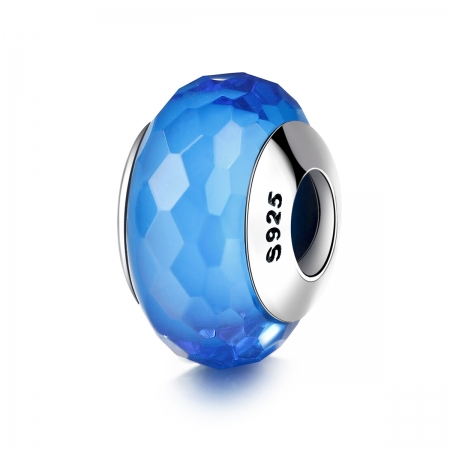 Charm argint 925 cu sticla albastra multifatetata - Be Elegant PST0097