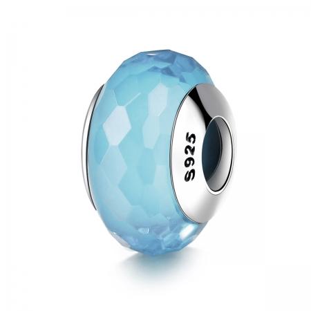 Charm argint 925 cu sticla bleu multifatetata - Be Elegant PST0099