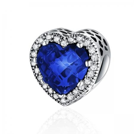 Charm argint 925 cristal albastru cu inimioare si zirconii albe - Be in Love PST0101
