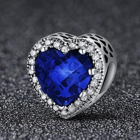 Charm argint 925 cristal albastru cu inimioare si zirconii albe - Be in Love PST01012