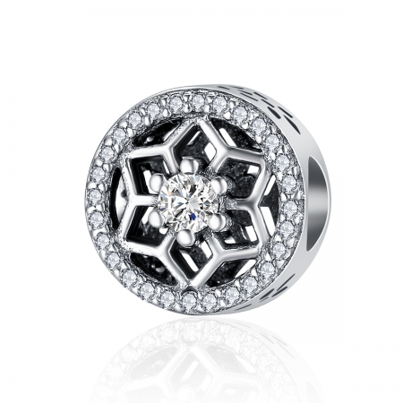 Charm argint 925 cu floricele si zirconii albe - Be Nature PST01030