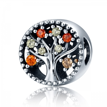 Charm argint 925 cu copacul vietii si zirconii colorate - Be Nature  PST0104