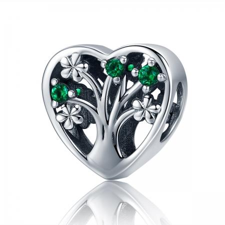 Charm argint 925 inimioara cu copacul vietii - Be in Love PST0105