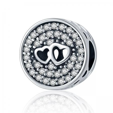 Charm argint 925 cu doua inimioare - Be in Love PST01060