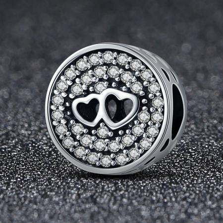 Charm argint 925 cu doua inimioare - Be in Love PST01061