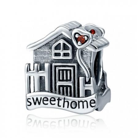 Charm argint 925 casuta Sweet Home cu inimioare rosii PST0107