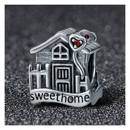Charm argint 925 casuta Sweet Home cu inimioare rosii PST01071