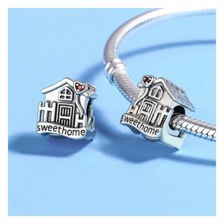 Charm argint 925 casuta Sweet Home cu inimioare rosii PST01072