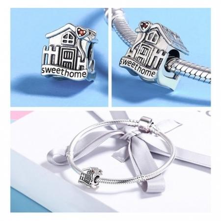 Charm argint 925 casuta Sweet Home cu inimioare rosii PST01075