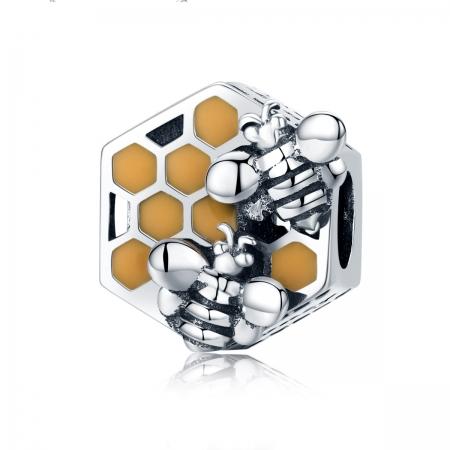 Charm argint 925 cu fagure si albinute - Be Nature PST0114