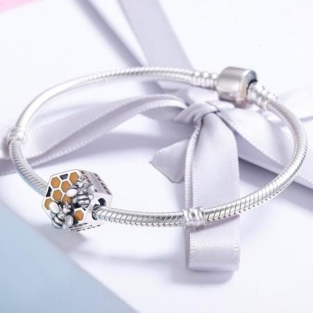 Charm argint 925 cu fagure si albinute - Be Nature PST01143