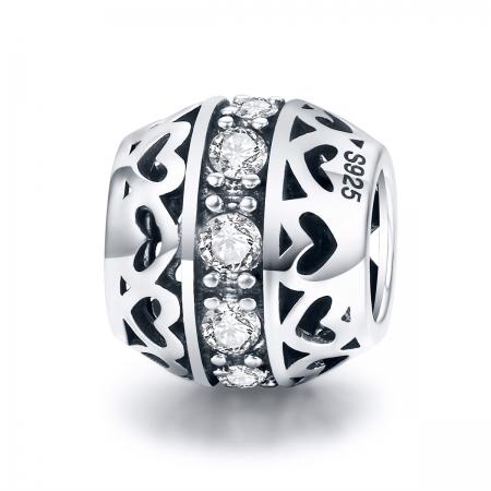 Charm argint 925 cu inimioare si zirconii albe- Be in Love PST0117