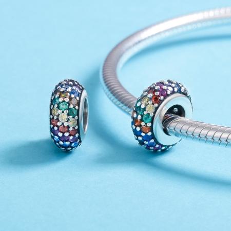 Charm argint 925 cu zirconii multicolore - Be Elegant PST01184