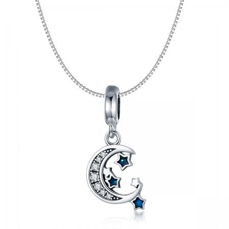 Charm argint 925 cu semiluna, stelute albastre si zirconii albe - Be Nature PST01245